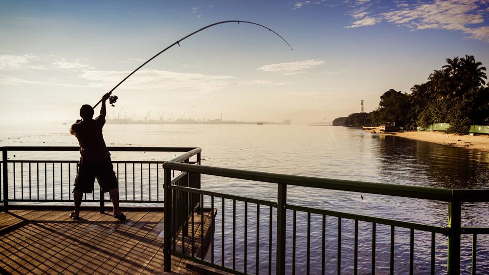 釣り上げる人